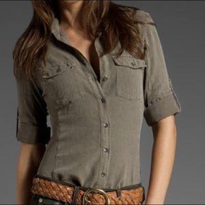 James Perse Women's Gray Button-down Shirt